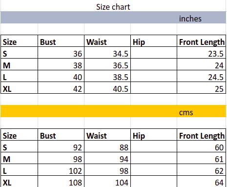 Women's Tops size chart